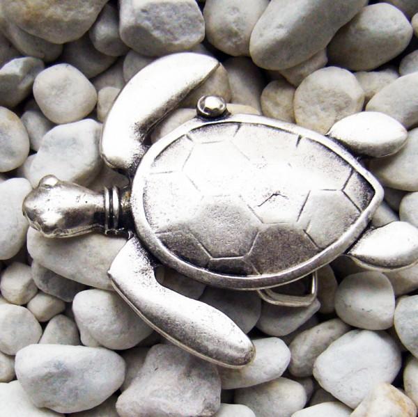 Sammy, 3cm, silberfarbene Schildkröten-Schließe