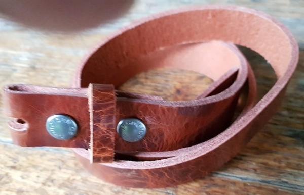 3 cm breiter Blankleder-Riemen, Druckknopf-Wechselgürtel