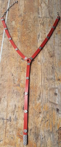 Y-Eicheln, 2cm Ypsilon-Leder-Hüftgürtel, rot, mit Eichel-Beschlägen, silbern