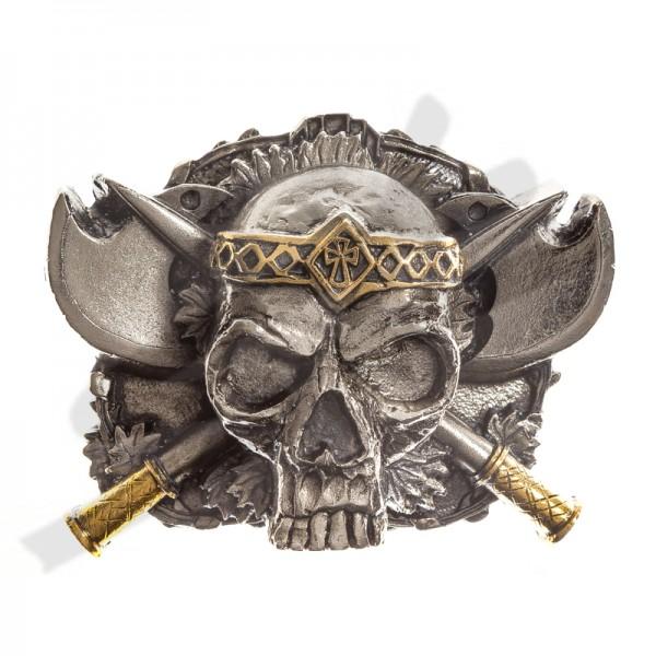 Wikinger Totenkopf-Zinnschließe 4cm,