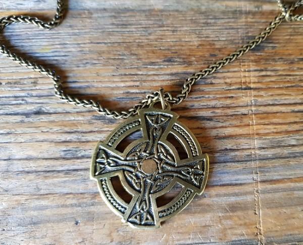 Halskette keltisches Rad-Kreuz, messingfarben