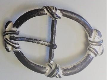 Gürtel-Schließe FLICK, 4cm, silber gekalkt