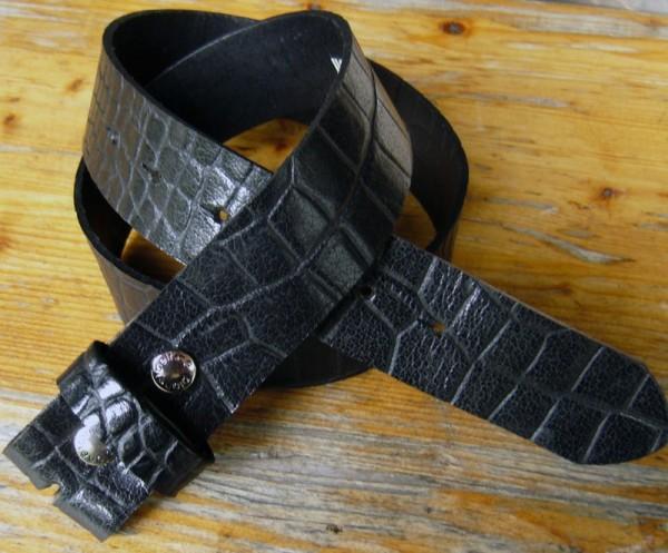 Kroko-Gürtelriemen 4cm, Vollrind-Naturleder mit Druckknopfverschluß