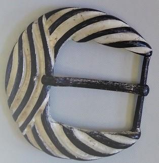 Gürtel-Schließe WELLEN, 4cm, silber gekalkt