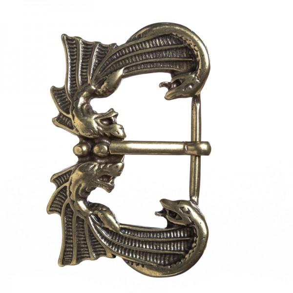 Drachenkuss, 3,5cm, messingfarbene Mittelalter-Schließe