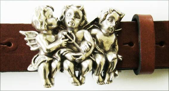 Little Devils, 4cm, silberne Fantasy-Teufelchen-Schließe