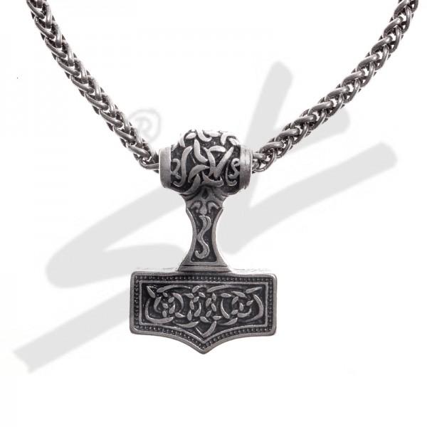 Halskette Thor-Hammer , silberfarben