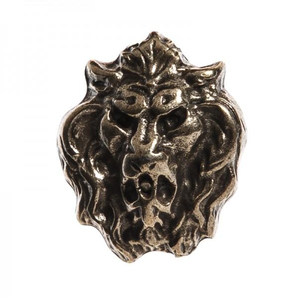 kleiner Löwenkopf, messingfarbener Beschlag