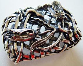 CESTO FLORALE, exclusive, handgefertigte Bronze-Schließe
