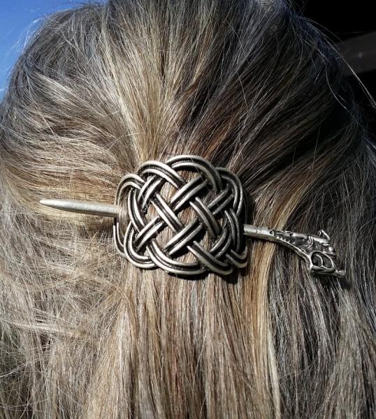 Haarspange KELTISCHER KNOTEN, silberfarben