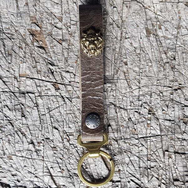 Schlüsselanhänger SLING, Löwenkopf, messing