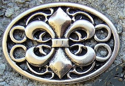 Wappen Fleur de Lys, silberfarbener Beschlag