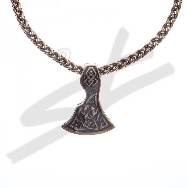 Halskette Mittelalter Breit-Axt , altmessingfarben