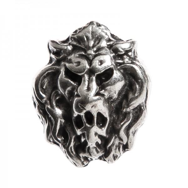 kleiner Löwenkopf, silberfarbener Beschlag