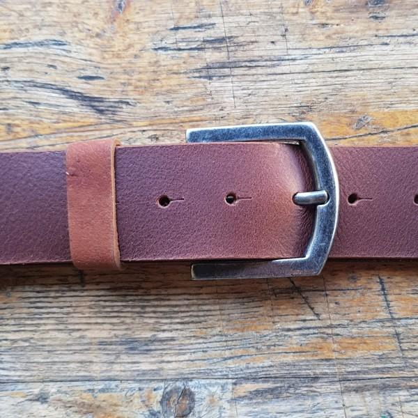 FRED, 4,5cm, cognacfarbener Büffelledergürtel, alteisenfarbene Schließe