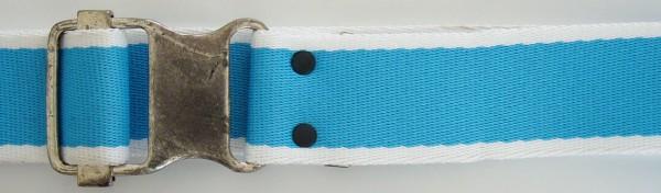 Stoffgürtel , Ringschließe, gemustert hellblau