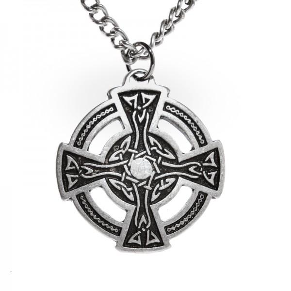 Halskette keltisches Rad-Kreuz, silberfarben
