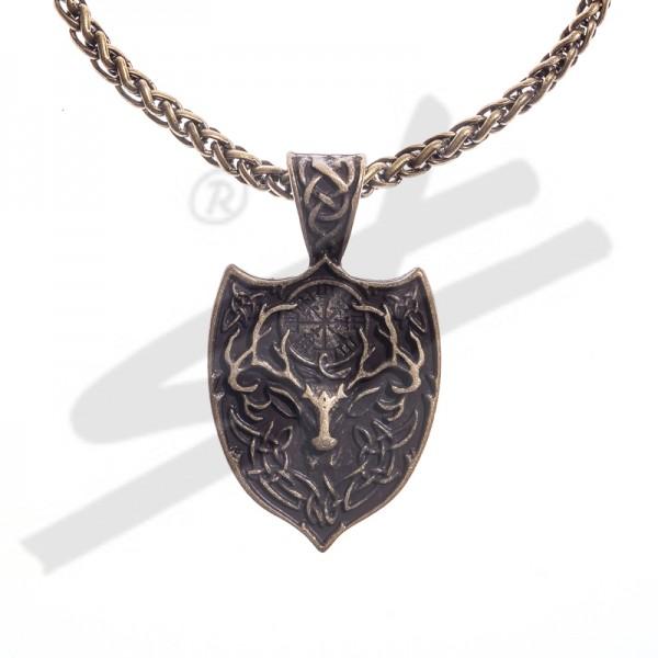 Halskette keltischer Hirsch mit AEGISHJALMUR, altmessingfarben