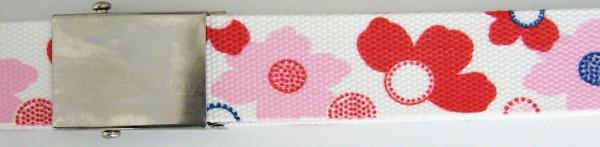 Stoffgürtel Koppel, gemustert, Blüten weiß/rot