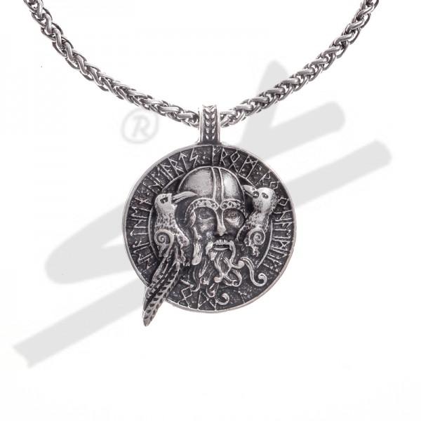 Halskette ODIN mit Hugin+Munin, silberfarben