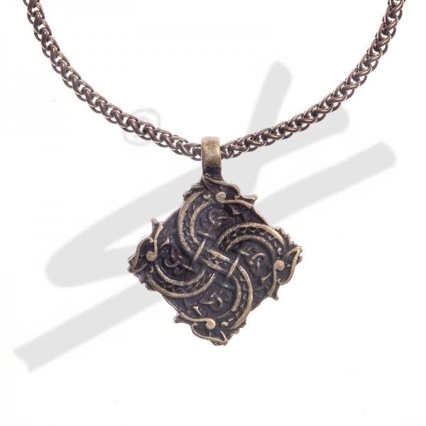 Halskette keltisches Drachenkreuz, altmessingfarben