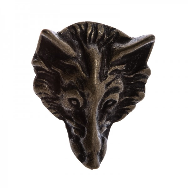 Wolfskopf, 4cm, altmessingfarbene Schließe