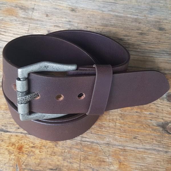 GOTH, 5cm,dunkelbrauner Büffelledergürtel, alteisenfarbene Schließe