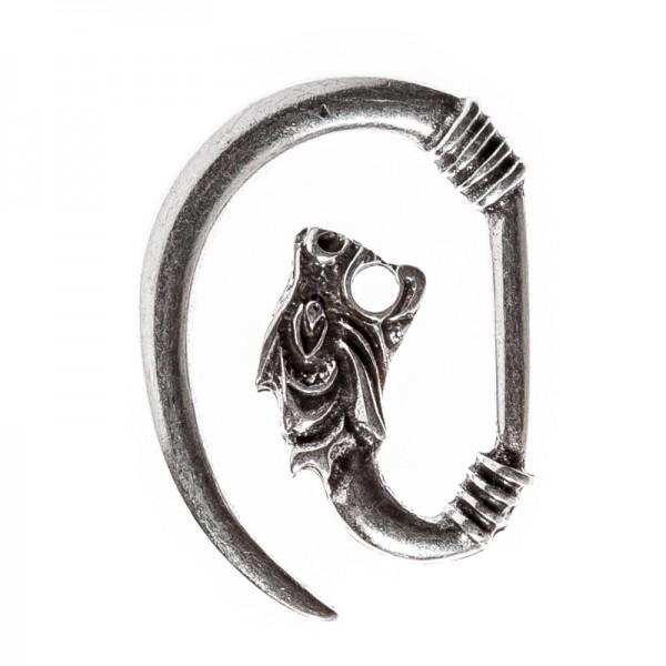Drachenkopf-Haken-Verschluß, silbern