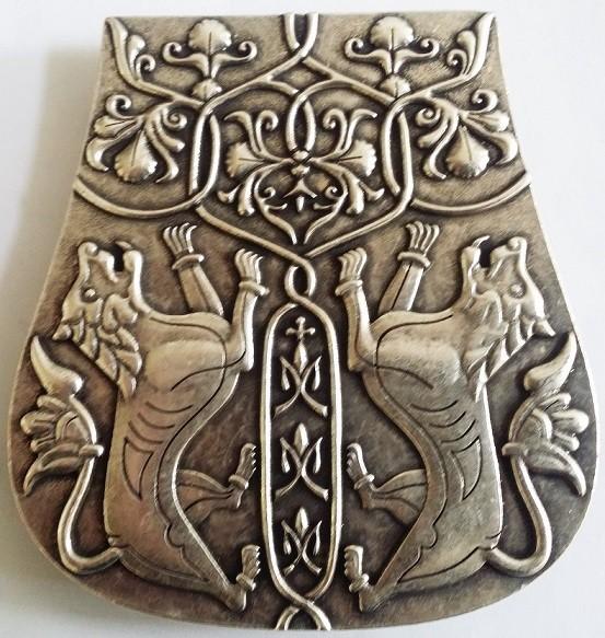 Magyarische Taschenplatte, silberfarben, Löwen