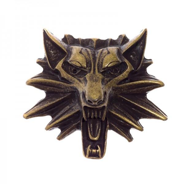 Wolfkopf Lupus, altmessingfarbener Beschlag