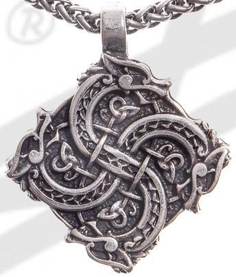 Anhänger Keltisches Drachenkreuz, silberfarben