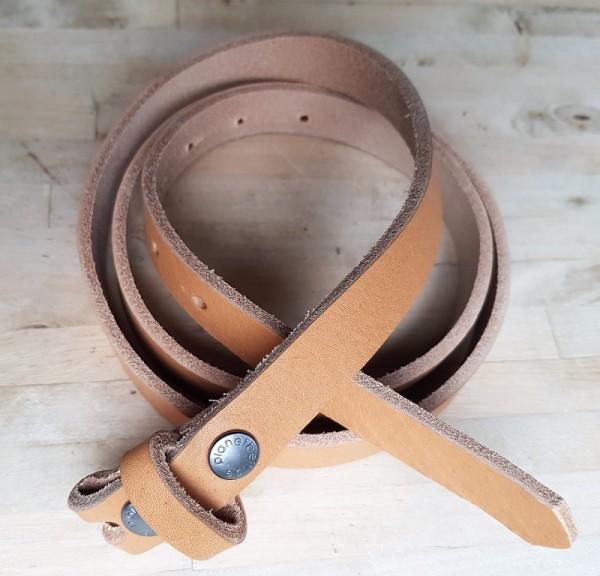 2 cm breiter Blankleder-Riemen, Druckknopf-Wechselgürtel