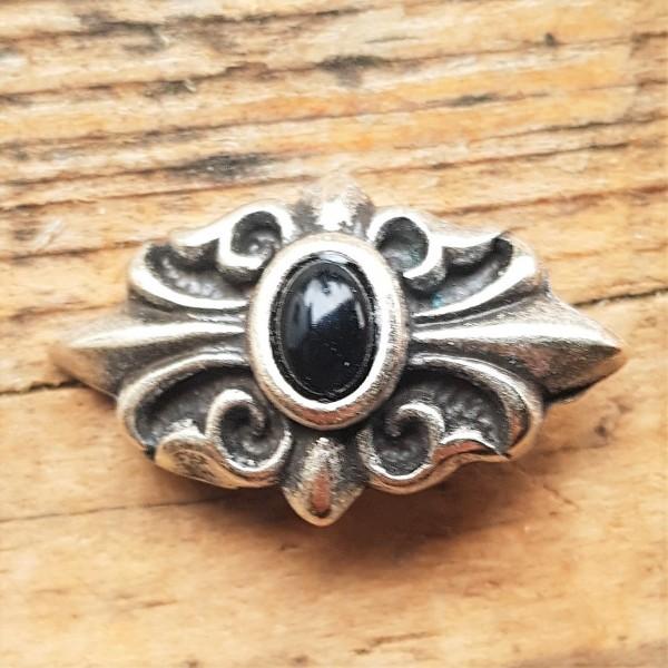 silberner Edel-Beschlag, Lilien mit schwarzer Kunst-Perle, GOTHIK