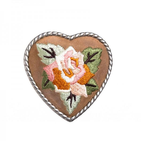 Heart Flower, 4cm, bestickte Gürtelschließe