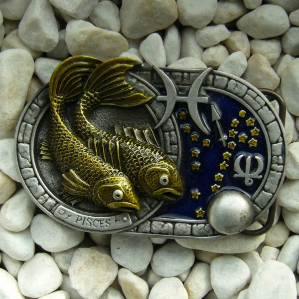 Sternzeichen Fische - Pisces, 4cm Schließe