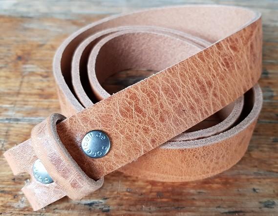 3,5 cm breiter Blankleder-Riemen, Druckknopf-Wechselgürtel