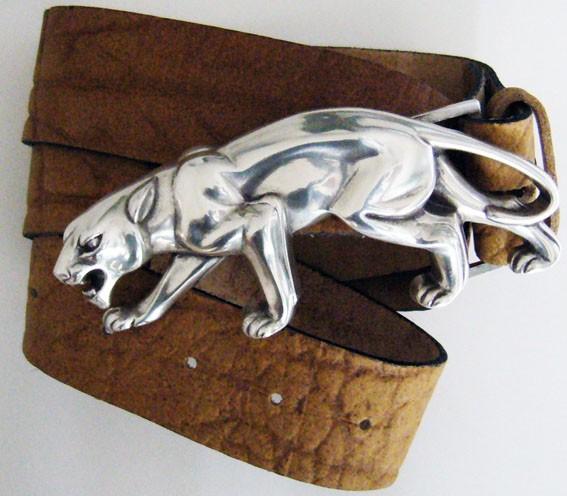Puma, 4cm, silberne Gürtelschließe