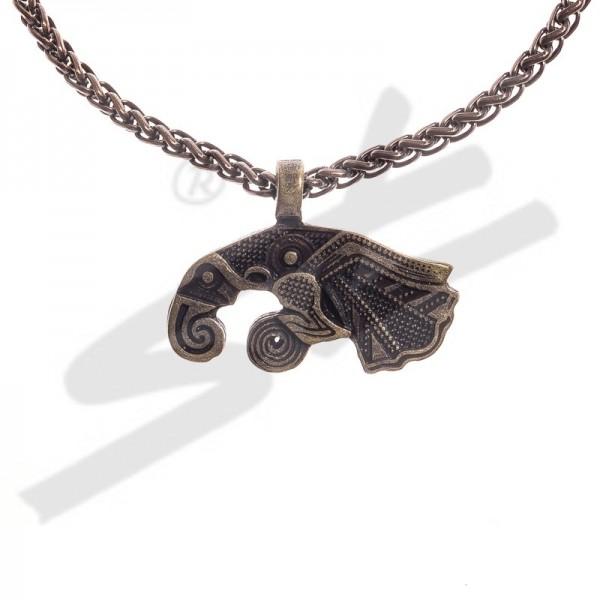 PK 5123-21 Halskette Rabe MUNIN , altmessingfarben