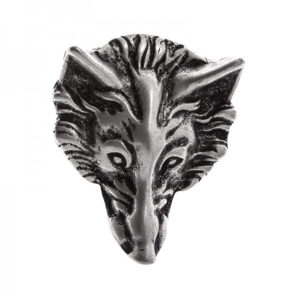 Wolfskopf, 4cm, silberfarbene Schließe