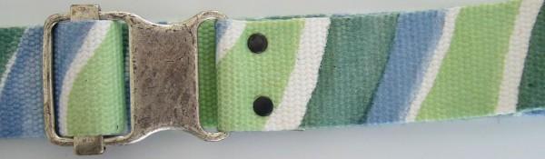 Stoffgürtel , Ringschließe, gemustert hellgrün/oliv