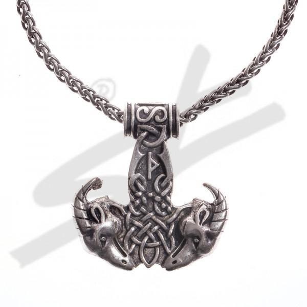 Halskette Thor-Hammer mit Ziegenköpfen , silberfarben