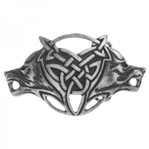 Celtic Wolves -Schließe silberfarben 4cm