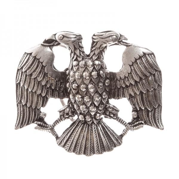 Doppelkopf-Adler, 4cm, silberfarbene Schließe