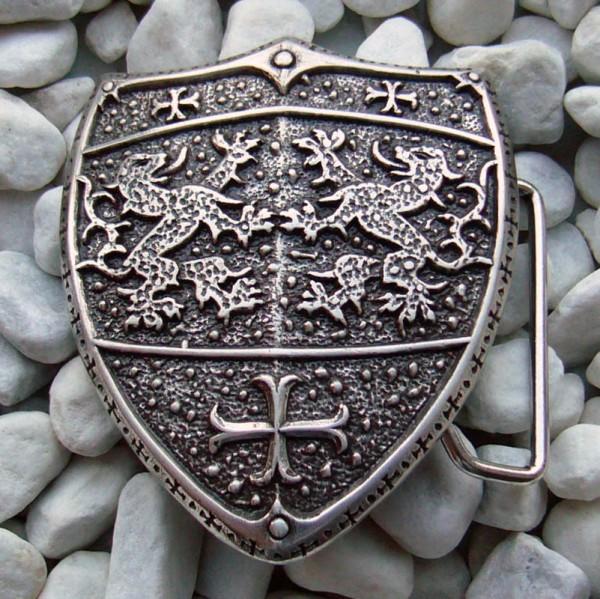 Lionscross, 4cm, mittelalterliche Wappen-Schließe