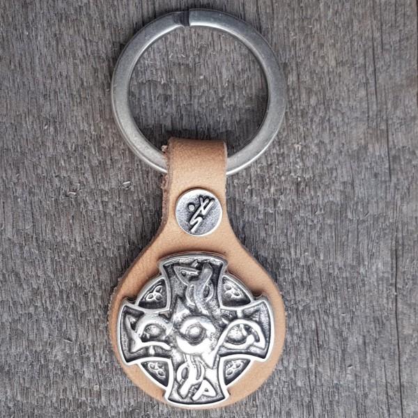 Schlüsselanhänger KELTISCHES DRACHEN-KREUZ silberfarben