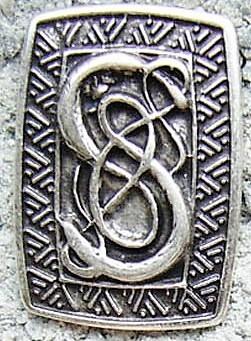 Schlangen-Schild, silberfarbener Beschlag