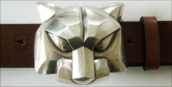 Silver-Cat, 4cm, silberne Panther-Schließe