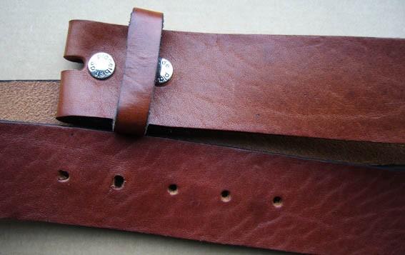 4,5 cm breiter Blankleder-Riemen, Druckknopf-Wechselgürtel