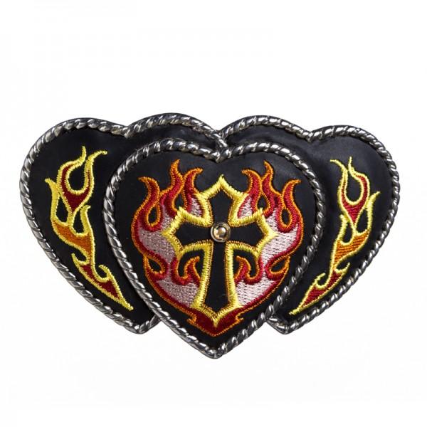 L3-Heart Cross, 4cm, bestickte Gürtelschließe
