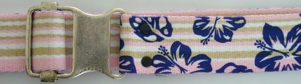 Stoffgürtel , Ringschließe, gemustert Hibiscus gestreift blau